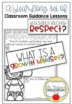 Classroom Guidance Lessons: the Year-Long Bundle School Counselor Lessons, Elementary School Counselor, School Counseling, Elementary Schools, Responsibility Lessons, Guidance Lessons, Character Education, Growth Mindset, Social Skills