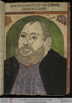 """""""Johann Friedrich I. von Sachsen"""", Historische Sammelhandschrift, 16. Jh., Hinterdeckel, Heidelberger historische Bestände, Cod. Pal. germ. 777"""