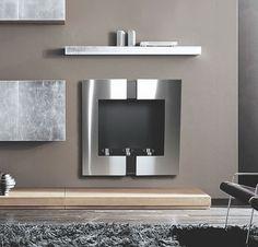 steel wall mounted fireplace