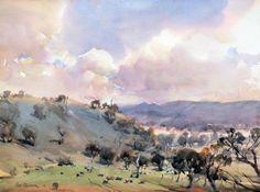Ross Paterson Watercolor Clouds, Watercolor Landscape, Landscape Paintings, Watercolor Paintings, Watercolours, Landscapes, Australian Art, Gouache Painting, Life Drawing