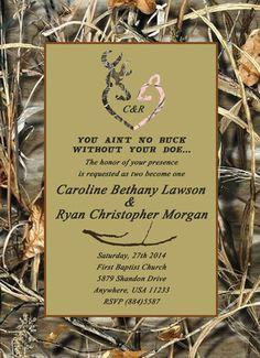 Buck and Doe Wedding Invitation by TheInkBasket on Etsy, $15.00