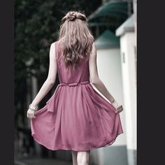 JS131 Cute silk spring dress in mauve by JulyS on Etsy, $69.00