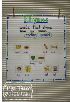 make a t chart in word Bright Idea for Anchor Charts - rhyming words Kindergarten Anchor Charts, Kindergarten Language Arts, Reading Anchor Charts, Kindergarten Literacy, Early Literacy, Rhyming Activities, Preschool Literacy, Literacy Centers, Literacy Games