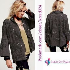 """Capes Oversized Poncho FREE PEOPLE Kimono Jacket Size XS/S Excellent Condition.  $298.00   Soft cotton blazer with gorgeous bead, sequin, and crochet accents throughout.  Collarless style.  Cuffed sleeves and raw, lightly frayed trim.   Measurements for Size XS/S: Bust: 50"""" Length: 30"""" Sleeve Length: 22""""  ❗️ Please - no trades, PP, holds, or Modeling.   ✔️ Reasonable offers considered when submitted using the blue """"offer"""" button.    Bundle 2+ items for a 20% discount!    Stop by my closet…"""