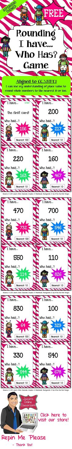 FREEBIE - This superhero themed rounding game features 36 game cards to help students apply their knowledge of rounding to the nearest 10 and by FAllan Math Teacher, Math Classroom, Teaching Math, Superhero Classroom, Fourth Grade Math, Second Grade Math, Sixth Grade, Grade 3, Math Resources