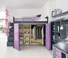 Trend Boxcase Girls Loft Bed Girls Bedroom Furniture Home Interior Ideas, Home Decorating, Home Funiture, Home Architecture, Room Design Ideas On We Heart It / Visual Bookmark Awesome Bedrooms, Cool Rooms, Dream Rooms, Dream Bedroom, Closet Bedroom, Closet Space, Master Closet, Master Bedroom, Attic Closet