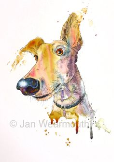 An original custom painting of your pet in pen, ink and watercolour on artist quality watercolour paper, A4 size, 210mm x 297mm. Something to