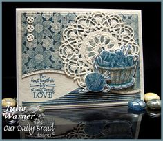 Julie Warner: The Write Stuff: ODBD September Release! Knit by Love - 9/1/14 (ODB stamps/dies: Birthday Doily/ Doily; Hand Knit/ Knitting Basket & Yarn dies).