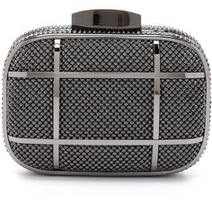 Whiting & Davis Cage Minaudiere Clutch (640 ILS) ❤ liked on Polyvore featuring bags, handbags, clutches, gunmetal, studded handbags, black handbags, whiting & davis, mesh handbags and minaudiere purse