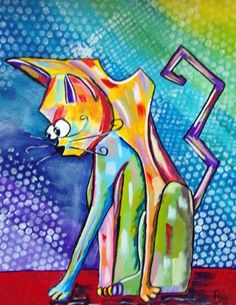 Abstract Cat In Acrylics Beginners Painting Speed Painting a Tribute to ...