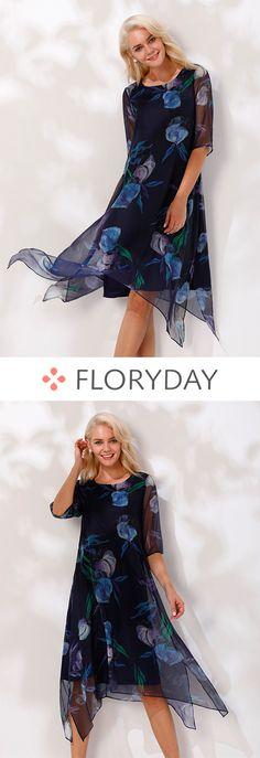 Floral Half Sleeve Knee-Length A-line Dress, fashion dress, floral dress, 2018 fashion, new trend, beautiful dress, stylish.