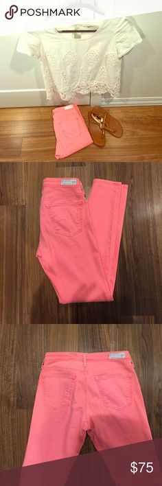 """AG jeans skinny ankle size 26 Pink/coral colored AG jeans skinny ankle. Brand calls color """"pigment flamingo"""". Worn a handful of times but still in very good condition. Size 26R. Ankle length. AG Adriano Goldschmied Pants Skinny"""