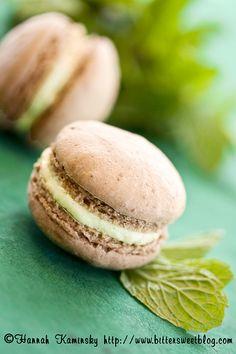 "Mint Chocolate Macarons #vegan, pg. 192 from ""Vegan Desserts"" by Hannah Kaminsky."