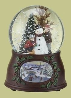 Kids and Snowman Christmas Snow Globe Glitterdome