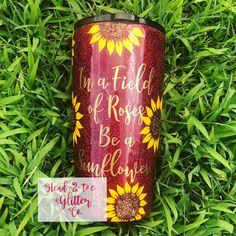 In a Field of Roses Be a Sunflower Glitter Tumbler – Head 2 Toe Glitter CoYou can find Tumbler quotes and more on our website.In a Field . Glitter Azul, Glitter Balloons, Glitter Cups, White Glitter, Diy Tumblers, Personalized Tumblers, Custom Tumblers, Glitter Tumblers, Tumbler Quotes