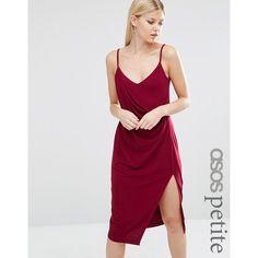 ASOS PETITE Crepe Wrap Midi Slip Dress (£28) ❤ liked on Polyvore featuring dresses, red, petite wrap dress, slimming dresses, midi dress, asos dresses and petite midi dress