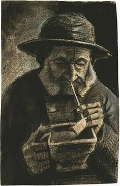Vincent van Gogh Fisherman with Sou'wester, Pipe and Coal-pan Drawing