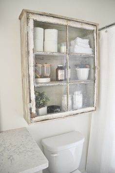 Upcycled Over-Toilet Bathroom Storage Cabinet using an old window. Rustic Farmho… Upcycled Over-Toilet Bathroom Storage Cabinet using an old window. Old Window Projects, Home Projects, Pallet Projects, Repurposed Furniture, Diy Furniture, Bathroom Furniture, Muebles Shabby Chic, Diy Bathroom, Bathroom Storage Over Toilet