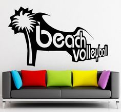 Beach Volleyball Vinyl Decal Sport Recreation Leisure Wall Stickers from $21.99