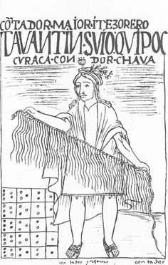 Khipu illustration from a drawing by Felipe Guaman Poma from his 'El Primer Nueva Coronica y Buen Gobierno', the only extant Codex from Peru, depicting Peruvian life.