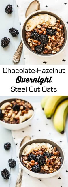 chocolate-hazelnut overnight steel cut oats