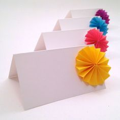 Origami Place Cards, Wedding Escort Cards - paper pinwheels, paper flowers- Favor sets of 20 any col Wedding Places, Wedding Place Cards, Origami Flowers, Paper Flowers, Wedding Prints, Diy Supplies, Your Cards, Gift Tags, Card Stock