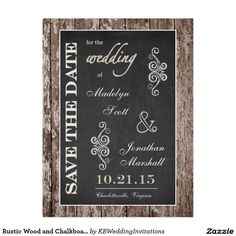 Rustic Wood and Chalkboard 5x7 Save the Date