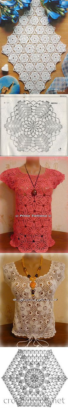 мотивы крючком. Crochét motif flower top