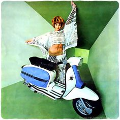 These images are from the Italian Lambretta calendars dating from 1967-70. Each year featured a different model throughout, including Jean Shrimpton, Claudine Auger, Marisa Mell and Raffaella Carrà.