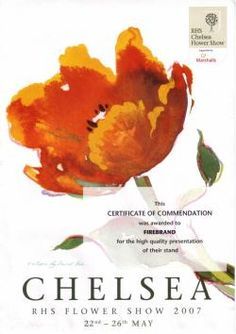 Certificate of commendation for my exhibit at the Chelsea Flower Show in 2007