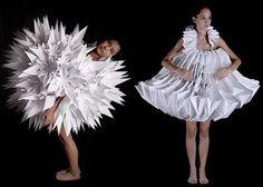 Two origami inspired dresses designed by Mauricio Velasquez Posada.