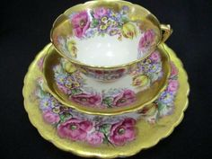 Stunning Edwardian highly Gilded and floral tea trio | Everything stops for tea Collectable retro antique & Vintage teaware tea & coffee sets trios cups saucers plates 18th to 20th century