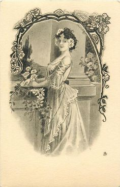 sepia  study of lady standing facing left, looking front, holding flowers, decorations above