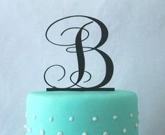"3"" 4"" 5"" 6"" or 7"" Monogram Wedding Cake Topper in ANY LETTER - A B C D E F G H I J K L M N O P Q R S T U V W X Y Z"