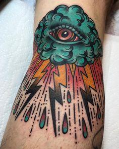 Traditional storm cloud eye tattoo by @clintonleetattoos • 1,695 likes