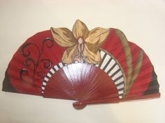Abanicos pintados a mano,artesanía y complementos, diseños exclusivos  , arte,madera de peral y tela de algodón