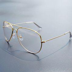 8f7b18bca8f Clear Glasses Myopia Clear Frame Glasses Women Men Spectacle Frame Clear  Lens Optical Clear Aviator Glasses