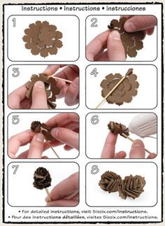 Tim Holtz how to create the pine cone with pine cone die..looks easy enough. How cute would these be on christmas tags?