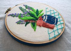 Hand Embroided Wall Hanging Hoop Art Sage by VintagePlusCrafts, $10.00