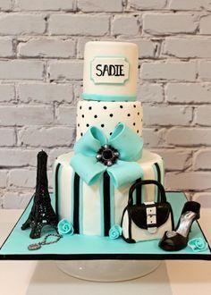 Teal, black and white Paris cake