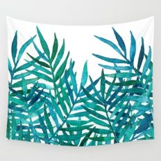 Watercolor Palm Leaves O… Wall Tapestry