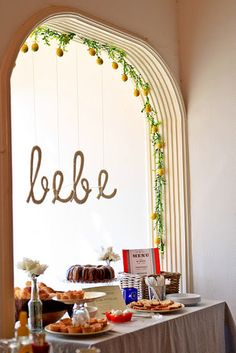 French Paris bakery pour le bebe baby shower hanging sign made of yarn