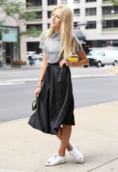 collar, midi-skirt, tennies
