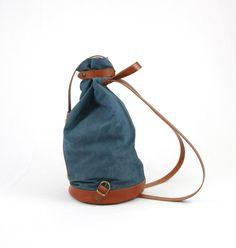 DENIM BACKPACK in cognac LEATHER/Backpacks/Woman от ElMato на Etsy Denim Backpack, Canvas Backpack, Backpack Purse, Leather Shoulder Bag, Leather Bag, Leather Backpacks, Vegetable Tanned Leather, Natural Leather, Bag Making
