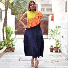 Olive, Orange & Blue Embroidered Asymmetric Flared Dress with Pocket Detail - Rustorange Kurta Designs, Blouse Designs, Stylish Dresses, Fashion Dresses, Kurti Styles, Stylish Blouse Design, Indian Designer Wear, Indian Outfits, Flare Dress