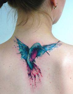Watercolor hummingbird tattoo - 110 Lovely Bird Tattoo Designs <3 <3