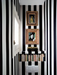 Check Out 27 Inspiring Guest Toilet Design Ideas.Even though a guest toilet is usually quite small, there is no reason it shouldn't be big on style. Wc Decoration, Noguchi Coffee Table, Design Industrial, Sweet Home, Guest Toilet, Small Toilet, Guest Bath, Striped Walls, Striped Room
