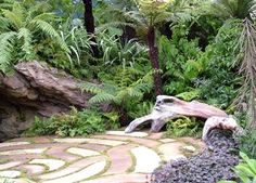 I like the idea of paving that merges into the undergrowth rather than having defined borders