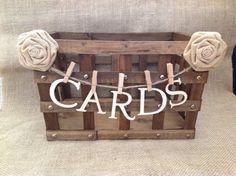 Crate card box for wedding/ rustic/ burlap flower by HankandJean, $32.00