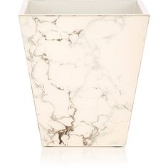 Pacific Connections Carrara Marbled Wooden Wastebasket (€180) ❤ liked on Polyvore featuring home, home decor, small item storage, wood home decor, wooden home decor, wood waste basket, handmade home decor and wood wastebasket